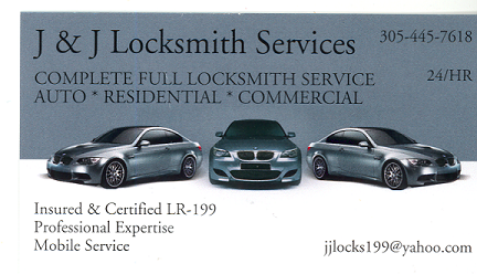 J & J Locksmith in Hialeah refferd by Carlos Gutierrez