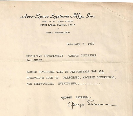 Aero Space Systems Carlos J Gutierrez Plant Supervisor 1972