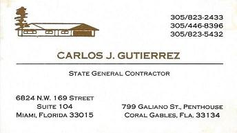 Carlos J Gutierrez State Gen contractor